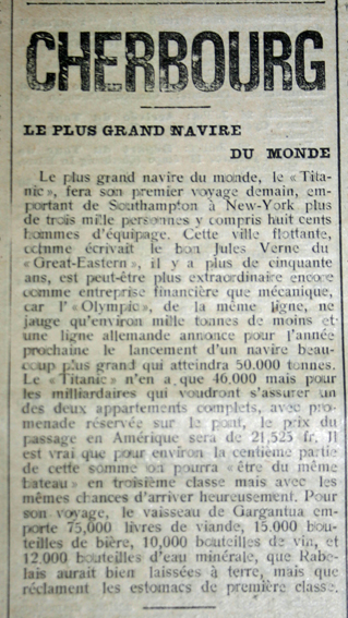 "Archive du journal ""Cherbourg Eclair"" du 10 avril 1912 : article sur l'escale du Titanic"