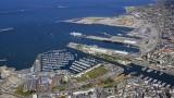 Vue aérienne du port de Cherbourg